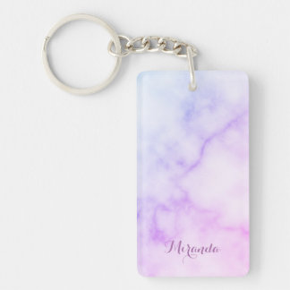 Rainbow Marble Pattern with Personalized Name Keychain