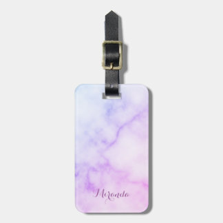Rainbow Marble Pattern with Personalized Name Luggage Tag