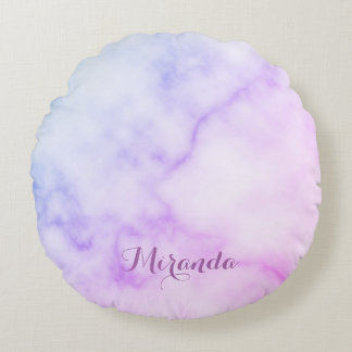 Rainbow Marble Pattern with Personalized Name Round Pillow