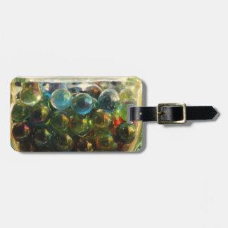 Rainbow marbles luggage tag
