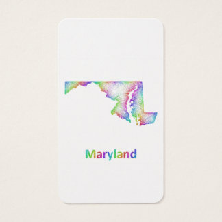 Rainbow Maryland map Business Card