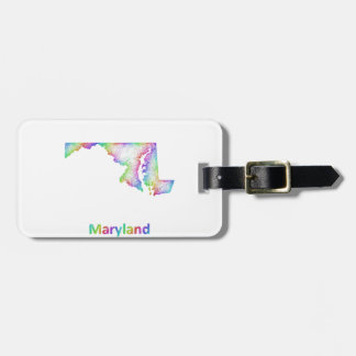 Rainbow Maryland map Luggage Tag