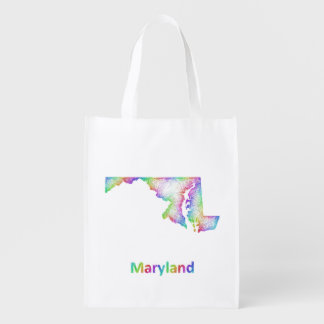 Rainbow Maryland map Reusable Grocery Bags