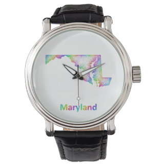 Rainbow Maryland map Wrist Watches