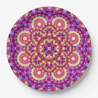 Rainbow Matrix Mandala Paper Plate