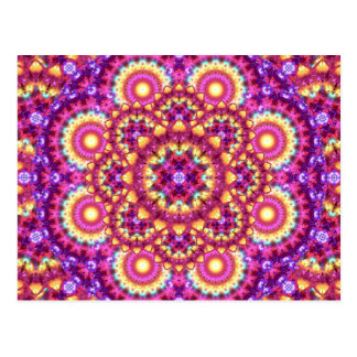 Rainbow Matrix Mandala Postcard