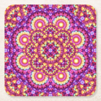 Rainbow Matrix Mandala Square Paper Coaster