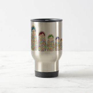 Rainbow Matryoshka Nesting Dolls 15 Oz Stainless Steel Travel Mug
