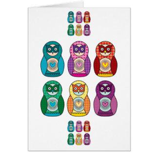 Rainbow Matryoshka Owls Greeting Card