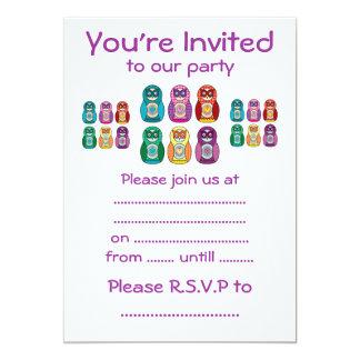 Rainbow Matryoshka Owls 5x7 Paper Invitation Card
