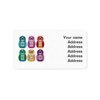 Rainbow Matryoshka Owls Address Label
