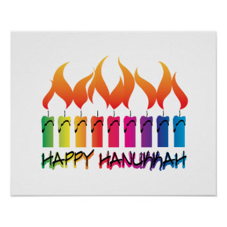 Rainbow Menorah Hanukkah Greeting Poster