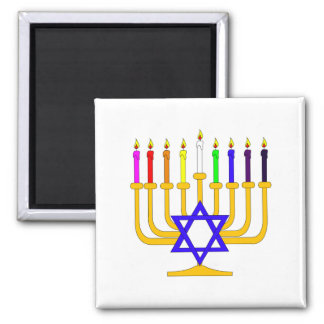 Rainbow Menorah Magnet