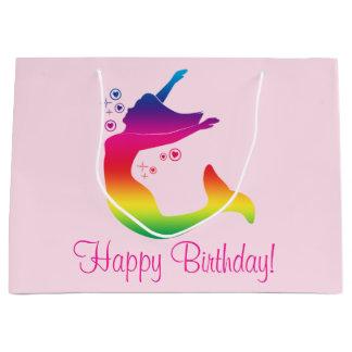 Rainbow Mermaid in Silhouette Happy Birthday Large Gift Bag