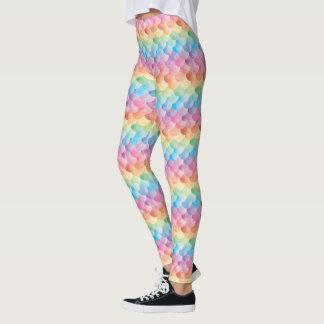 Rainbow Mermaid Scale Watercolor Leggings