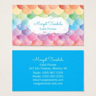 Rainbow Mermaid Watercolor Business Card