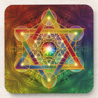 Rainbow Metatron's Cube Flower of Life Coaster