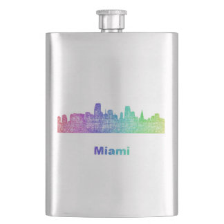 Rainbow Miami skyline Hip Flask