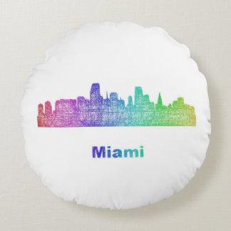 Rainbow Miami skyline Round Pillow