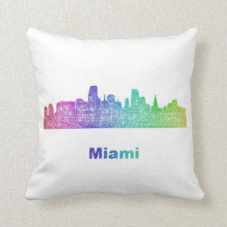 Rainbow Miami skyline Throw Pillow