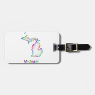 Rainbow Michigan map Bag Tag