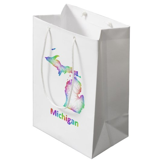 Rainbow Michigan map Medium Gift Bag