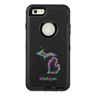 Rainbow Michigan map OtterBox Defender iPhone Case