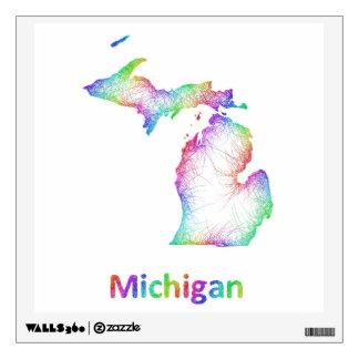 Rainbow Michigan map Wall Sticker
