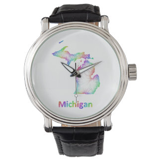 Rainbow Michigan map Wristwatch