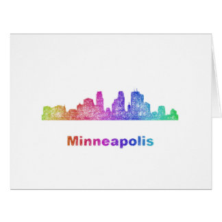Rainbow Minneapolis skyline Card