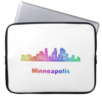 Rainbow Minneapolis skyline Computer Sleeve