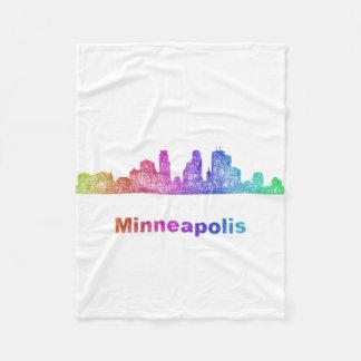Rainbow Minneapolis skyline Fleece Blanket