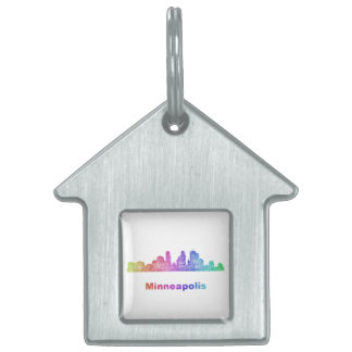 Rainbow Minneapolis skyline Pet Name Tag