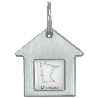 Rainbow Minnesota map Pet ID Tags