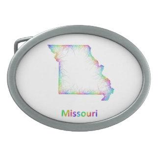Rainbow Missouri map Belt Buckle