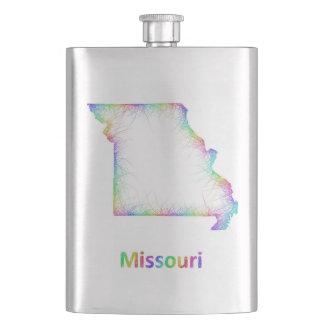 Rainbow Missouri map Hip Flask