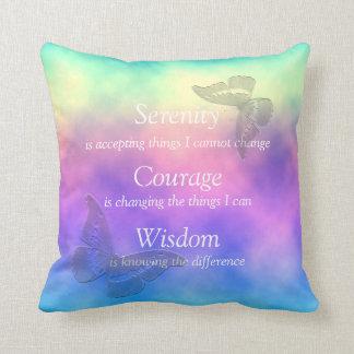 """""""Rainbow Mist"""" Butterflies Serenity Prayer Throw Pillow"""