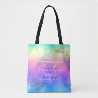 [Rainbow Mist] Butterflies Serenity Prayer Tote Bag
