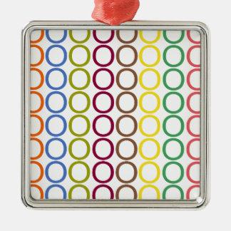 Rainbow Mixed Splash of O's Silver-Colored Square Ornament