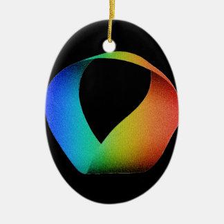 Rainbow Mobius Strip Ceramic Ornament