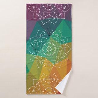 Rainbow modern geometric mandala yoga india design bath towel set