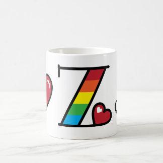 Rainbow Monogram Mug Z Stripe Heart Mug