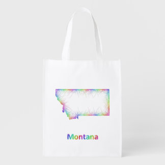 Rainbow Montana map Grocery Bags