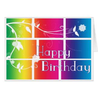 Rainbow Mosaic Happy Birthday card