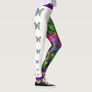 [Rainbow Mosaic] Stained-Glass Effect Butterflies Leggings