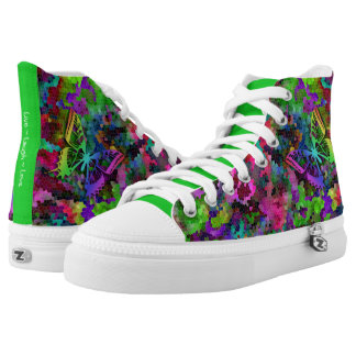 [Rainbow Mosaic] Stained-Glass Effect High Tops
