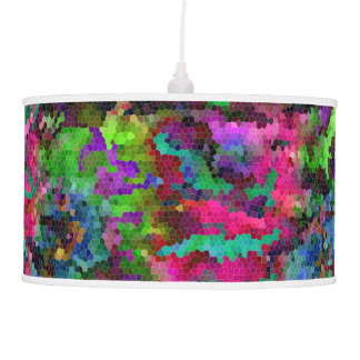 [Rainbow Mosaic] Stained-Glass Effect Pendant Lamp