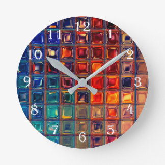 Rainbow Mosaic Tile Bold Bright Primary Color Red Wallclocks
