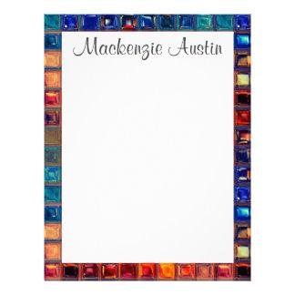 Rainbow Mosaic Tile Bold Bright Primary Faux Gems Letterhead
