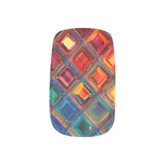 Rainbow Mosaic Tile Bold Bright Primary Faux Gems Minx Nail Art